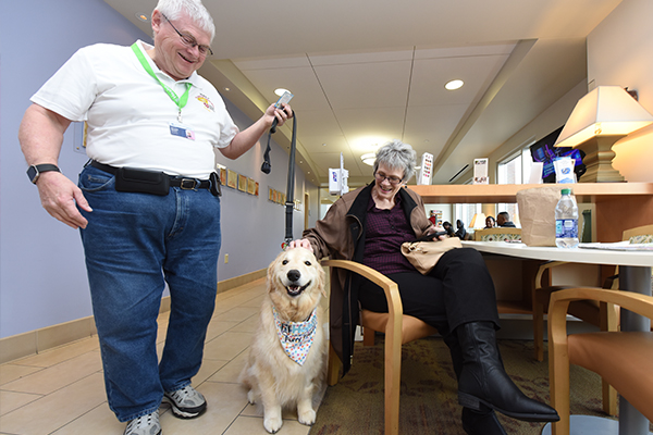 Therapy Dogs are important visitors at the Georgia Cancer Center.