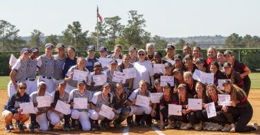 Pat Schaffer with two teams of softball players